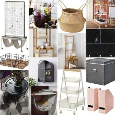 Square collage of chic and affordable storage solutions from Ikea