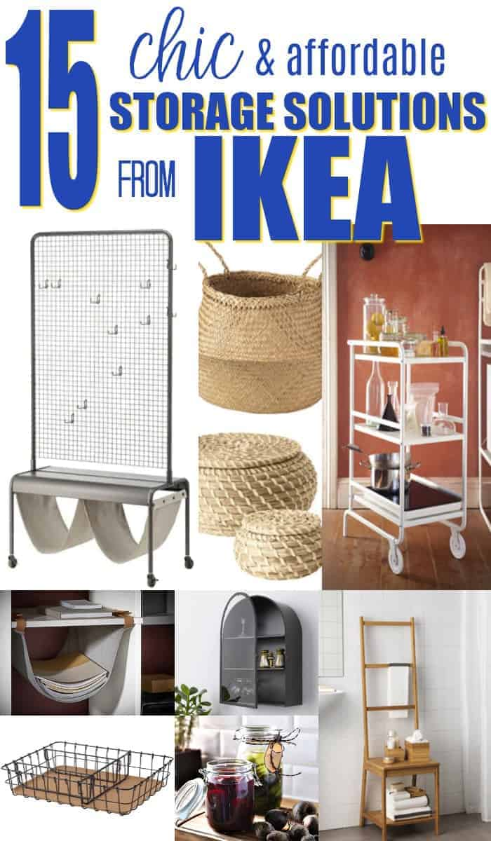 collage of chic and affordable storage solutions from Ikea