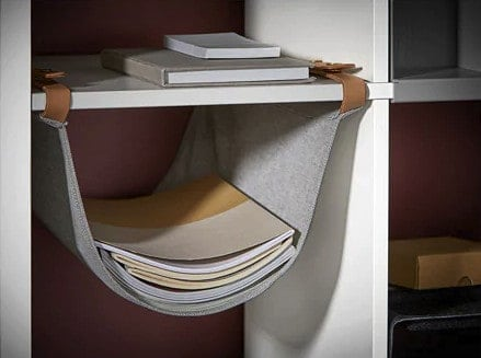 gray storage sling from Ikea