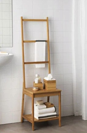 Combination bathroom chair and towel holder from Ikea