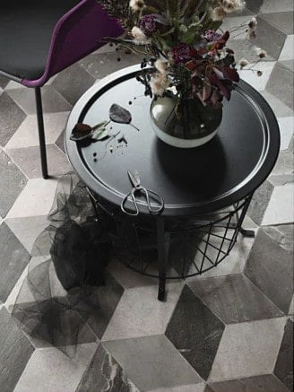 Black metal storage table from Ikea