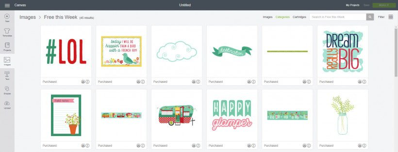 Screenshot of adorable camping and glamping Cricut free cuts of the week