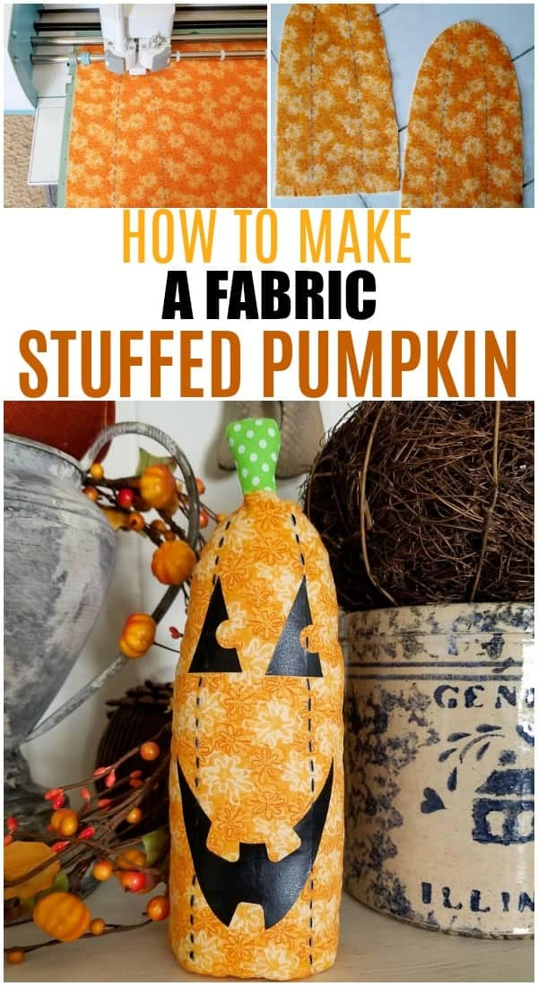 Pinterest collage of the steps used to make a stuffed fabric pumpkin from Cricut