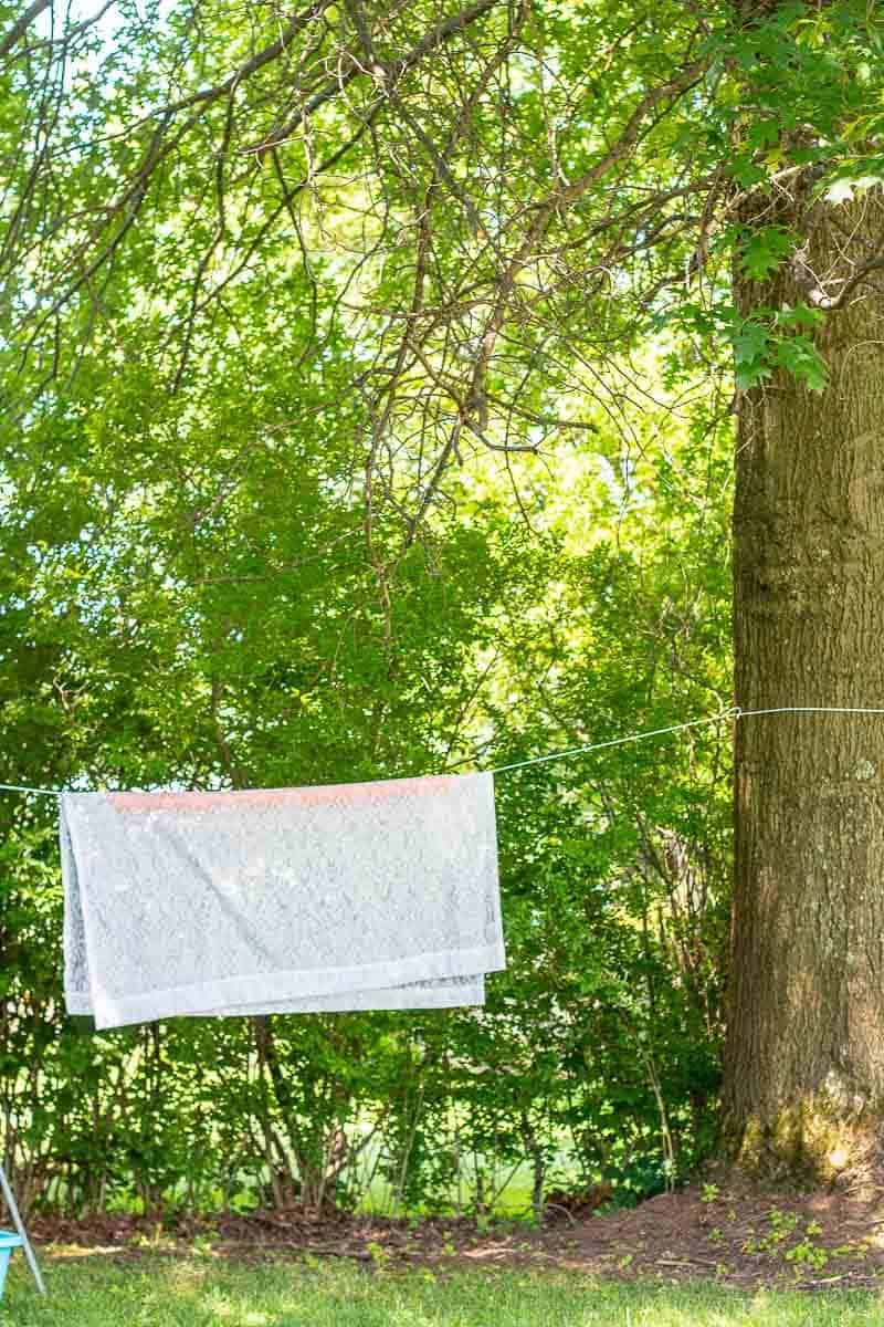 Clothesline hanging on large oak tree with orange pool noodle and lace curtain