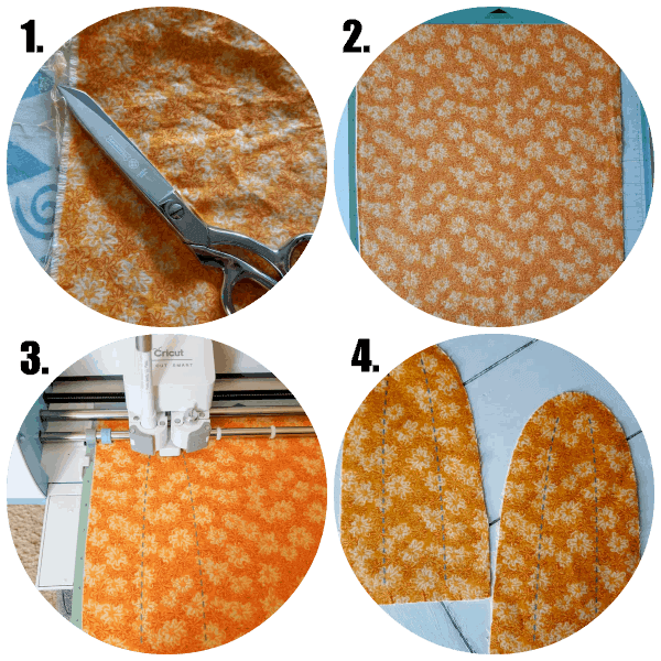 Collage of 4 basic steps for making an easy stuffed fabric pumpkin