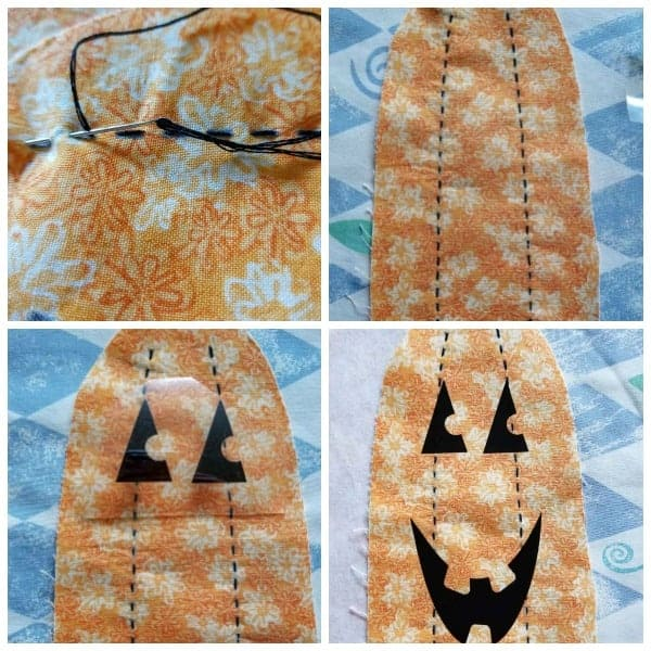 collage of 4 pics of stuffed fabric pumpkin in progress