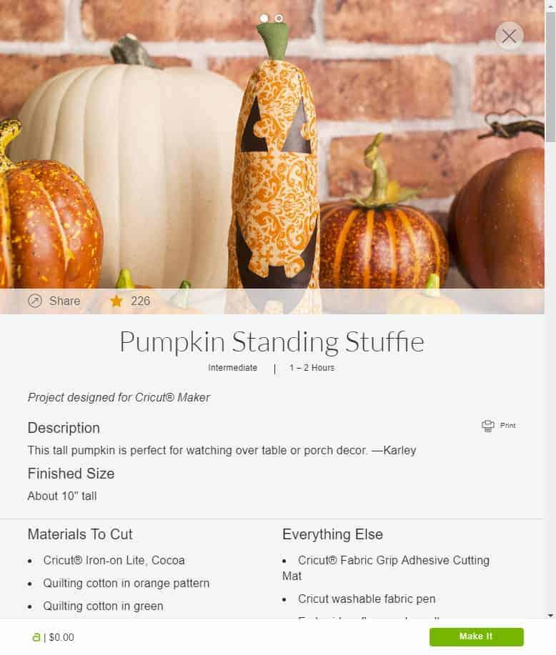 Screenshot of Stuffed Fabric Pumpkin Standing Stuffy from Cricut Design Space