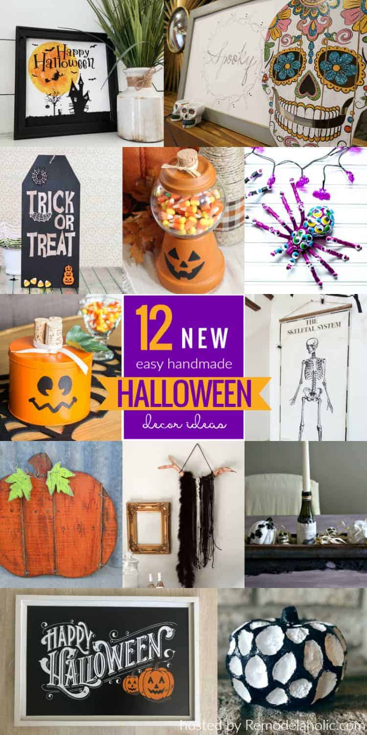 Collage of 12 new easy handmade Halloween Decor Ideas including some from the Dollar Store