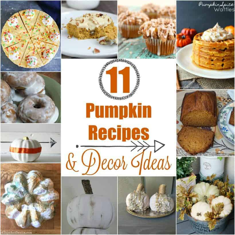 Collage of pumpkin recipes and pumpkin decor