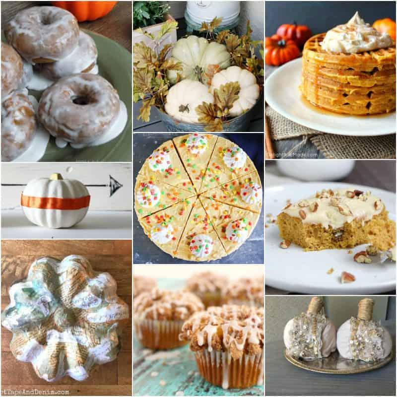 Collage of pumpkin recipes and pumpkin decor