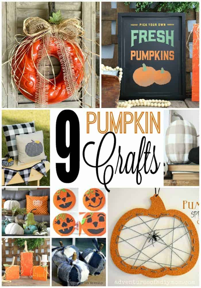 Collage of 9 adorable pumpkin crafts