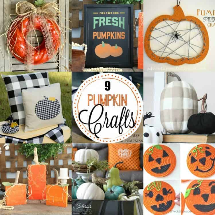 Photo collage of 9 pumpkin decor ideas and easy crafts with overlay