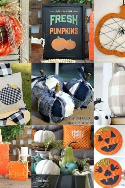 Photo collage of 9 pumpkin decor ideas and easy crafts