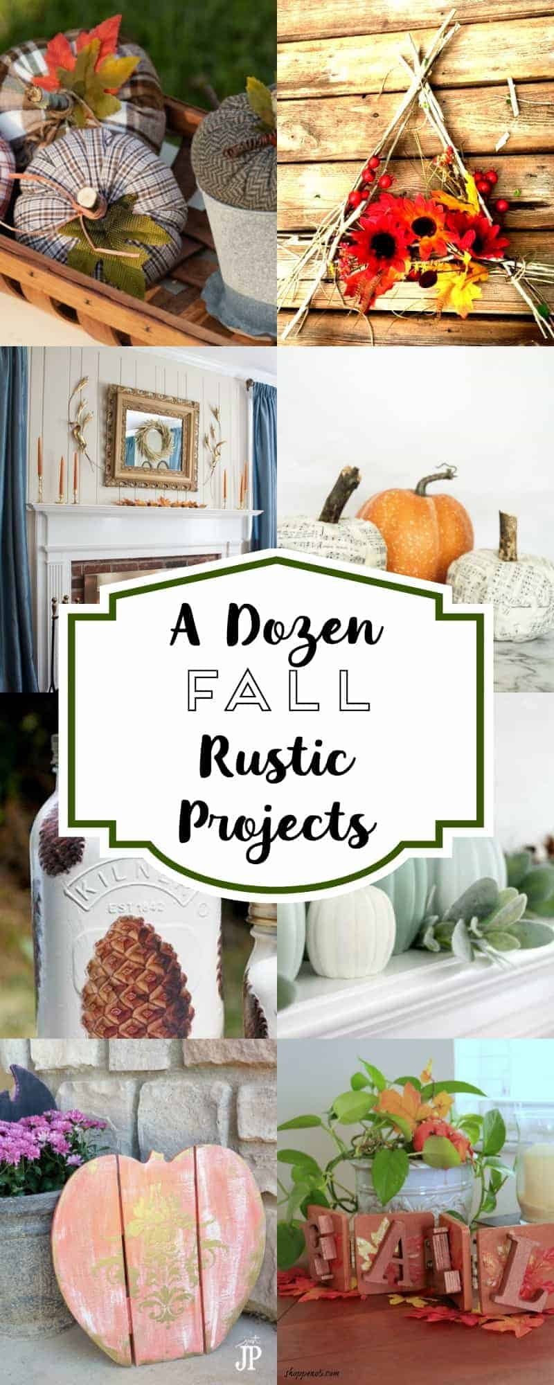 long collage of photos of 12 rustic fall projects