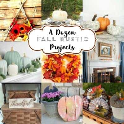 square collage of photos of 12 rustic fall projects