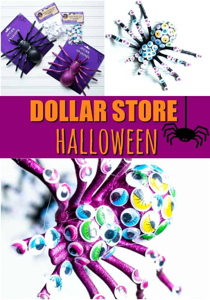 Dollar Store Halloween Collage with photos of craft supplies from the Dollar Store and googly eyed spiders in black and purple