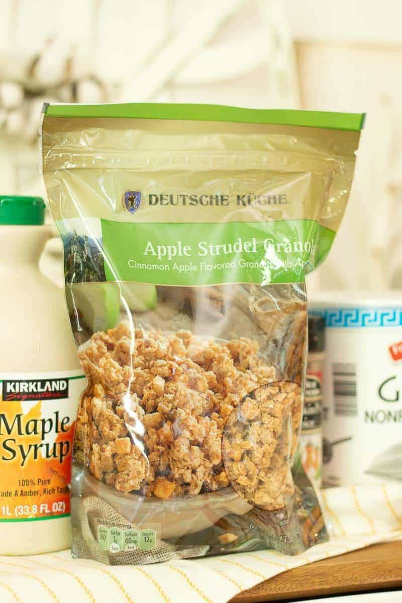 Bag of Apple Granola from Aldi used in a healthy pumpkin pie smoothie recipe