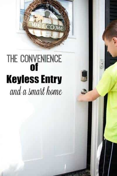Schlage Connect Smart Lock installed on white front door with boy in yellow shirt opening door