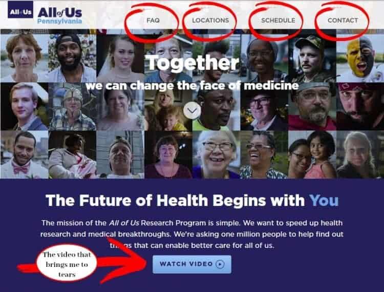 The All of Us Pennsylvania Program Website Screenshot
