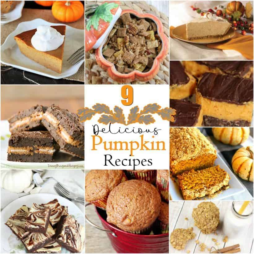 collage of 9 different pumpkin recipes