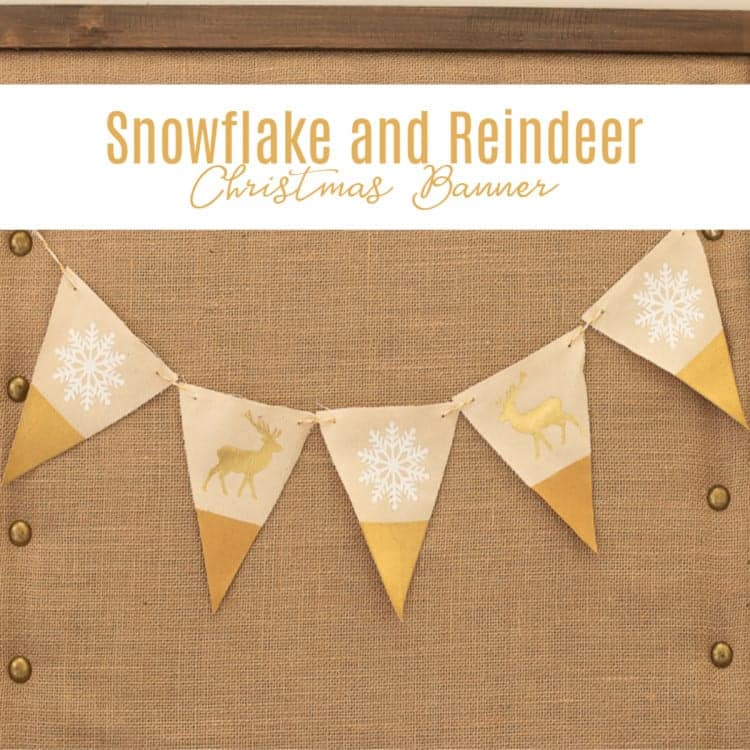 Square photo with text overlay of Snowflake and Reindeer Christmas Banner made with Cricut
