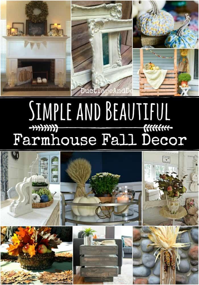 Collage of farmhouse style fall decor
