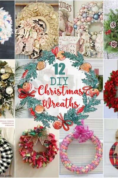 collage of 12 Christmas Wreaths that can be homemade