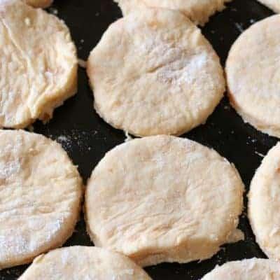 raw sweet potato biscuits on baking pan
