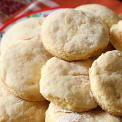Stack of sweet potato biscuits on plate