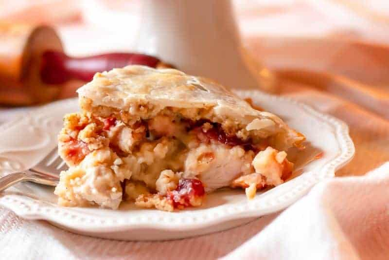 Piece of sliced Thanksgiving Leftovers Pie on plate