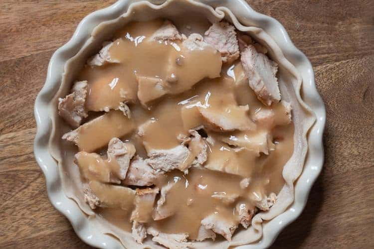 Thanksgiving leftovers in a pie crust for a recipe on using Thanksgiving Leftovers