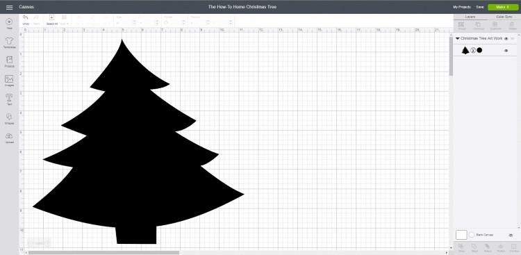 Screenshot of Cricut Design Space Christmas Tree Cut