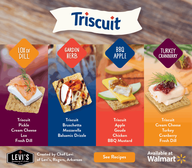 4 Triscuit cracker appetizer options from Chef Levi