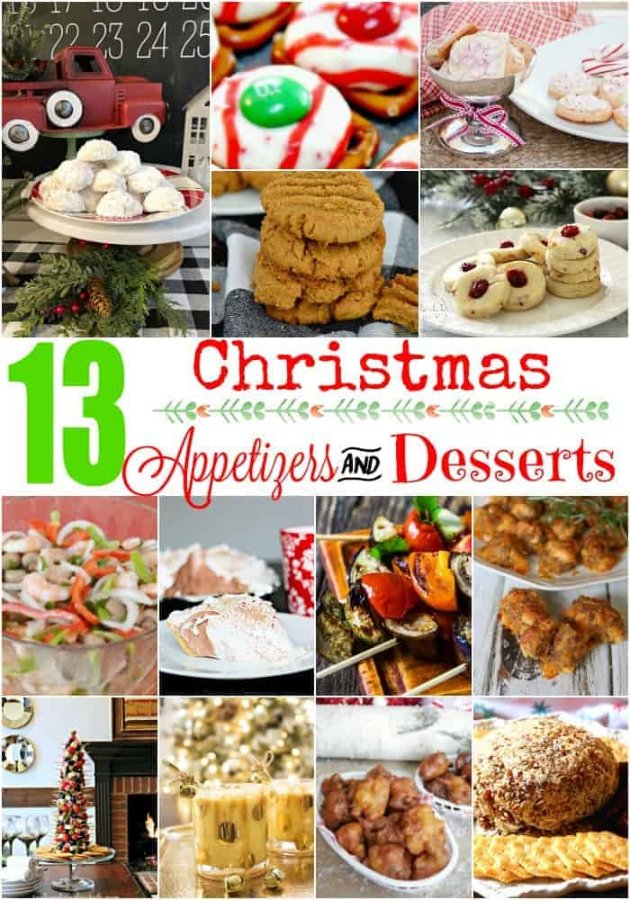 collage of 13 Christmas appetizers and desserts including Christmas cookies