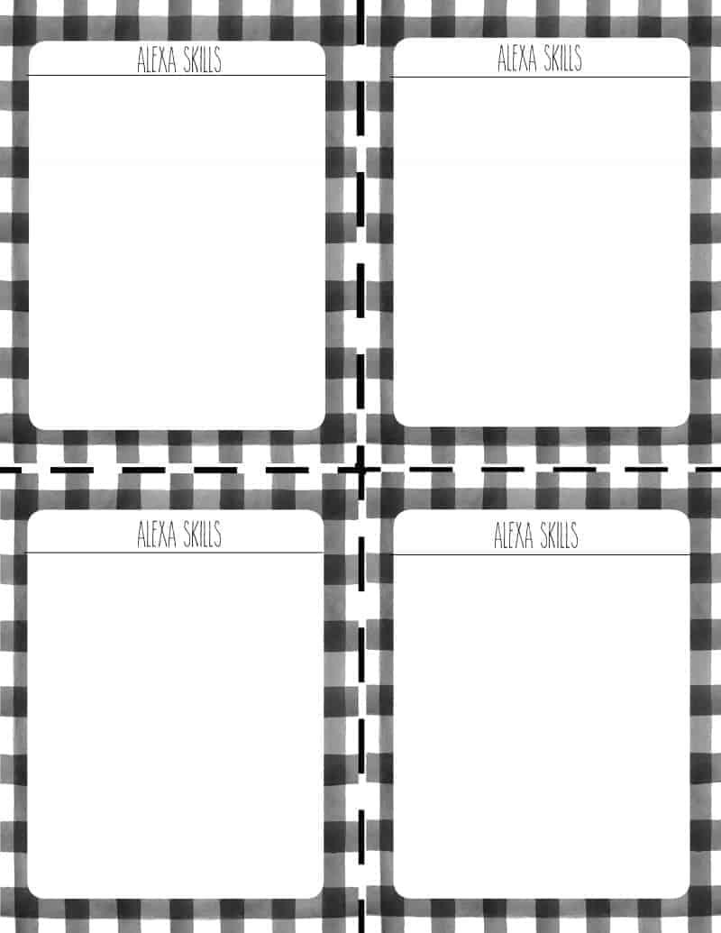Black and White Buffalo Check Printable with 4 Amazon Alexa Skills Blank Sheets