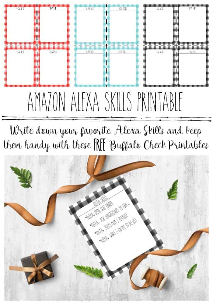 Pinterest image of three sheets of 4 each buffalo check printables to use to keep track of Amazon Alexa Skills easily