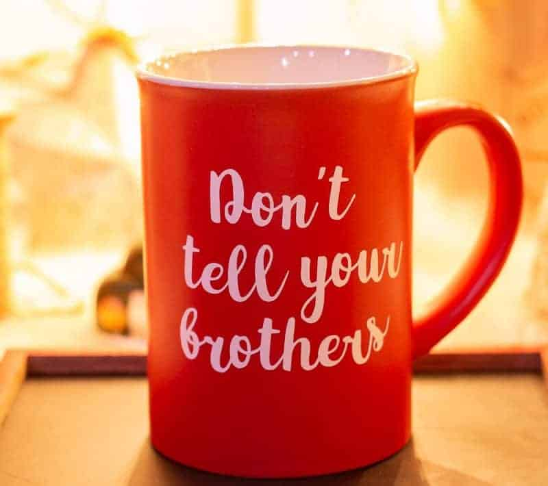 Back of mug that says, You're My Favorite on the front and Don't tell your brothers on the back made with Cricut vinyl