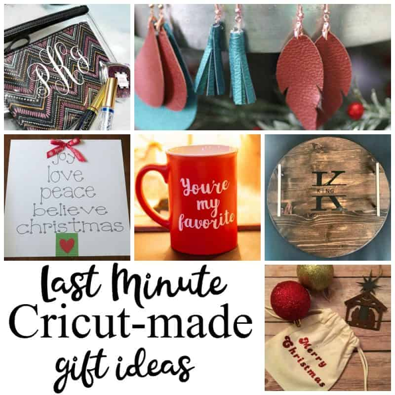 Photo collage of 6 crafts all made with Cricut and wonderful for last minute gift giving