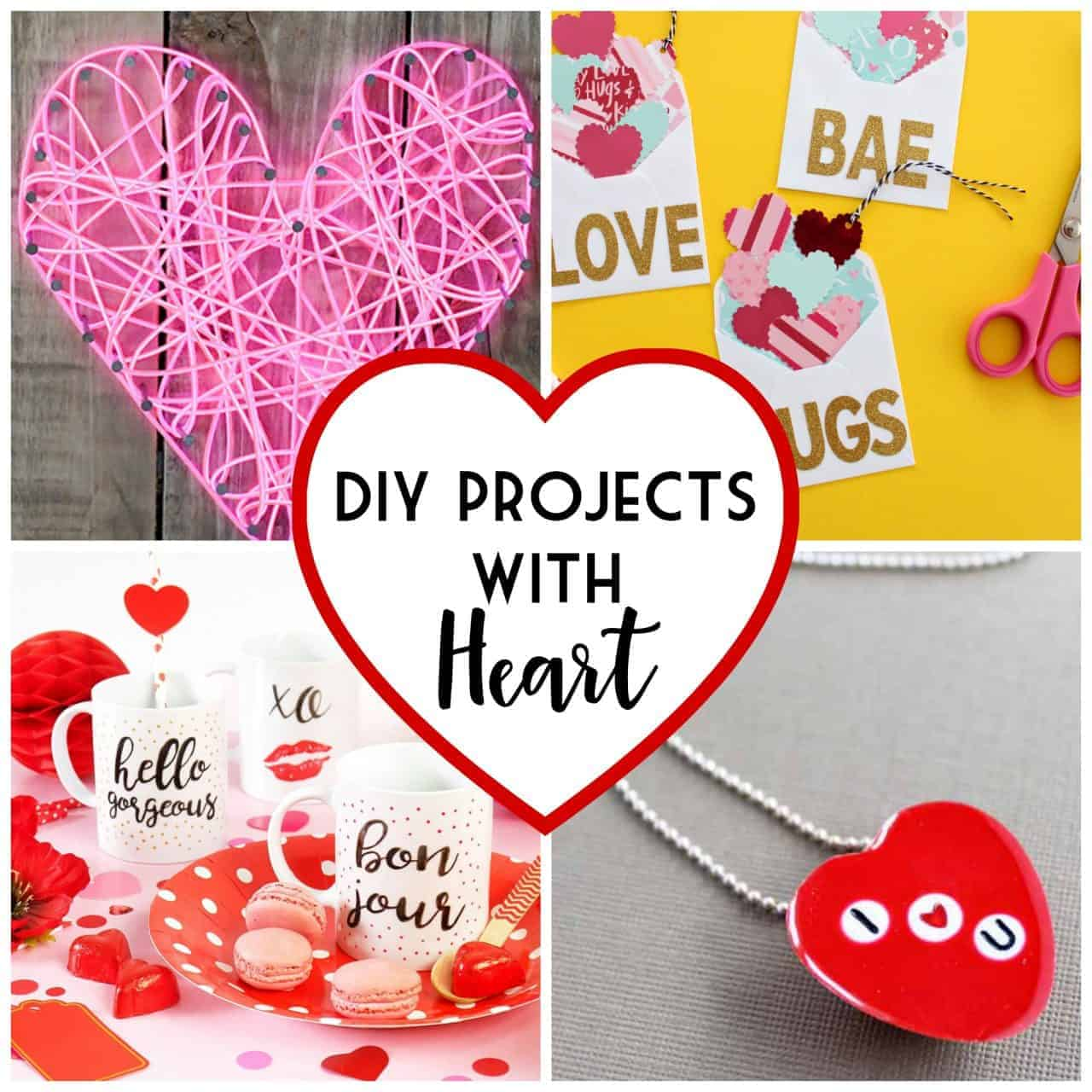 Collage of cute Valentine's Day projects to make yourself or with friends