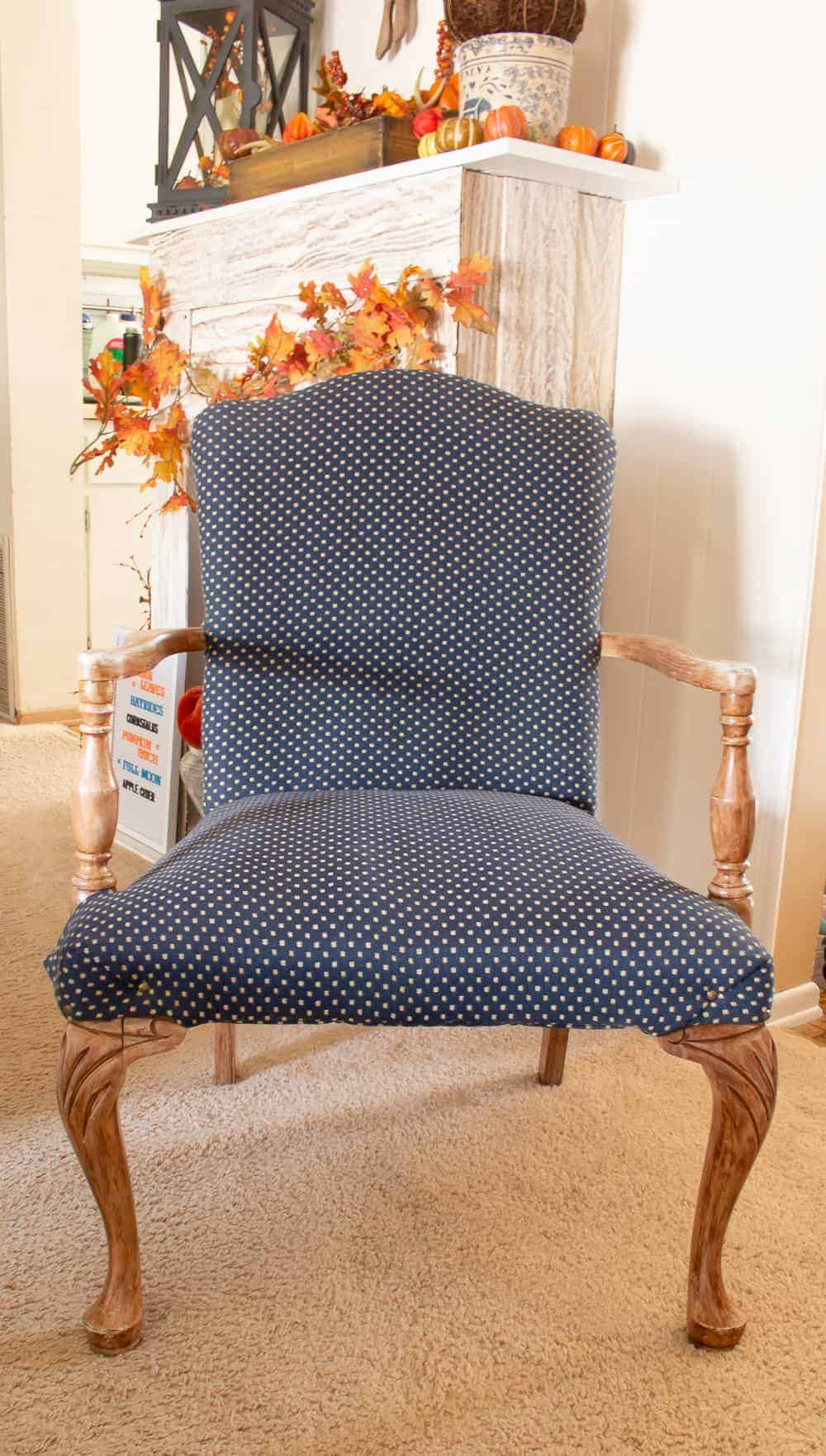 Antique chair with ugly blue fabric