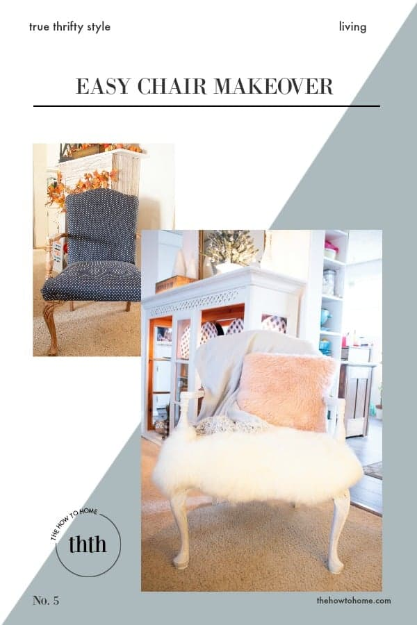 Before and after wooden upholstered chair makeover