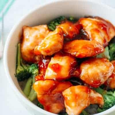 overhead view of chicken teriyaki in a bowl with broccoli and rice