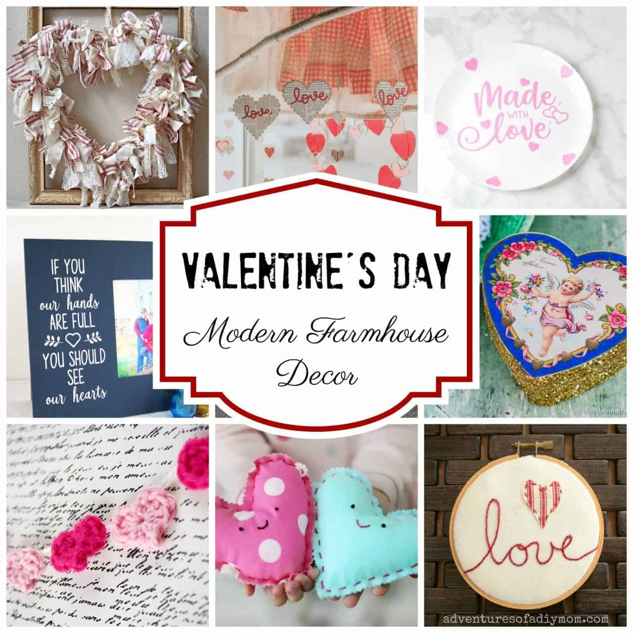 Collage of Valentine's Day Modern Farmhouse Decor