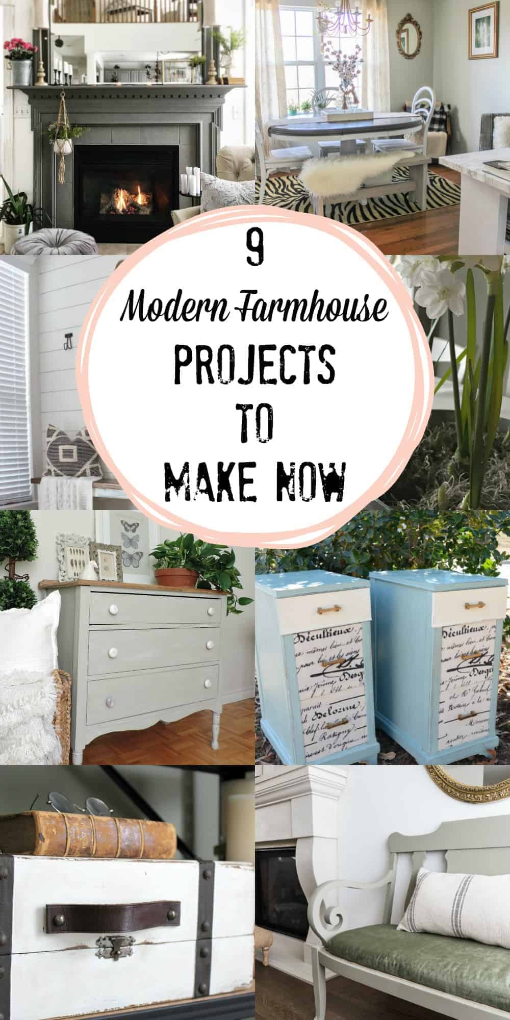 Collage of 9 beautiful modern farmhouse decor and DIY projects for your home