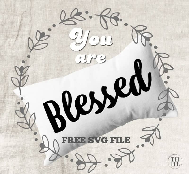 white pillow with the word BLESSED ironed on - so pretty! Blessed SVG file