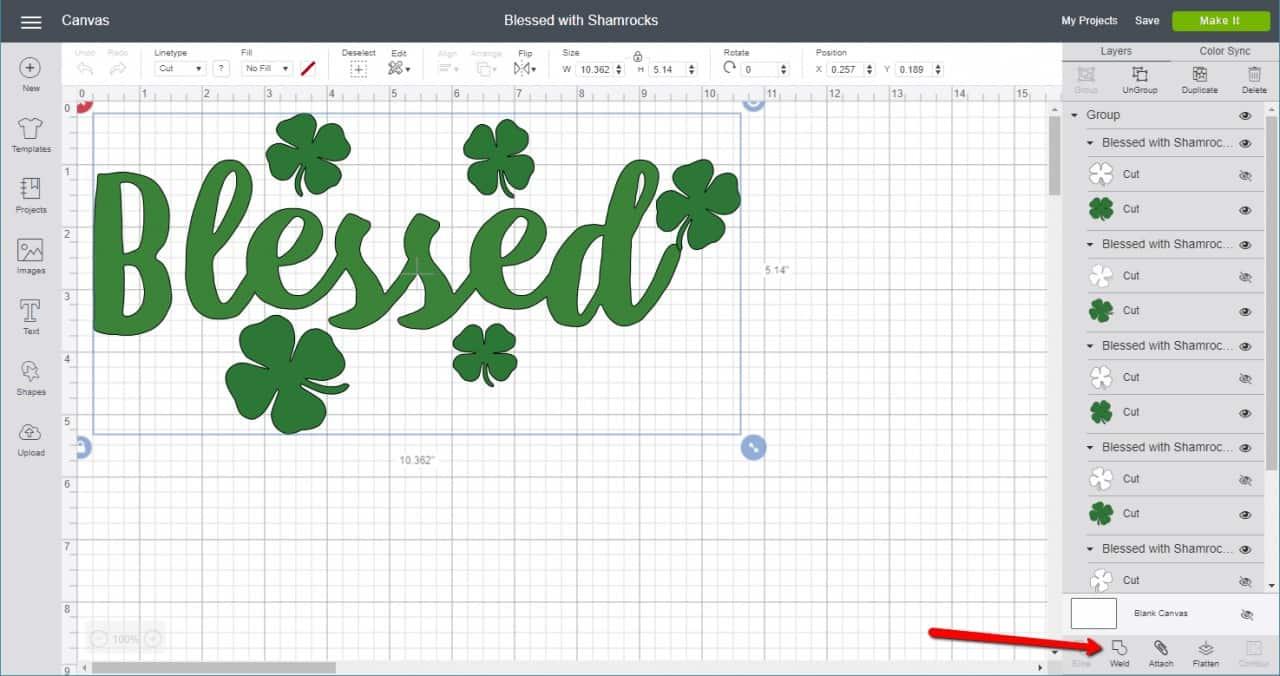 Screenshot of blessed SVG cut file in Cricut Design Space