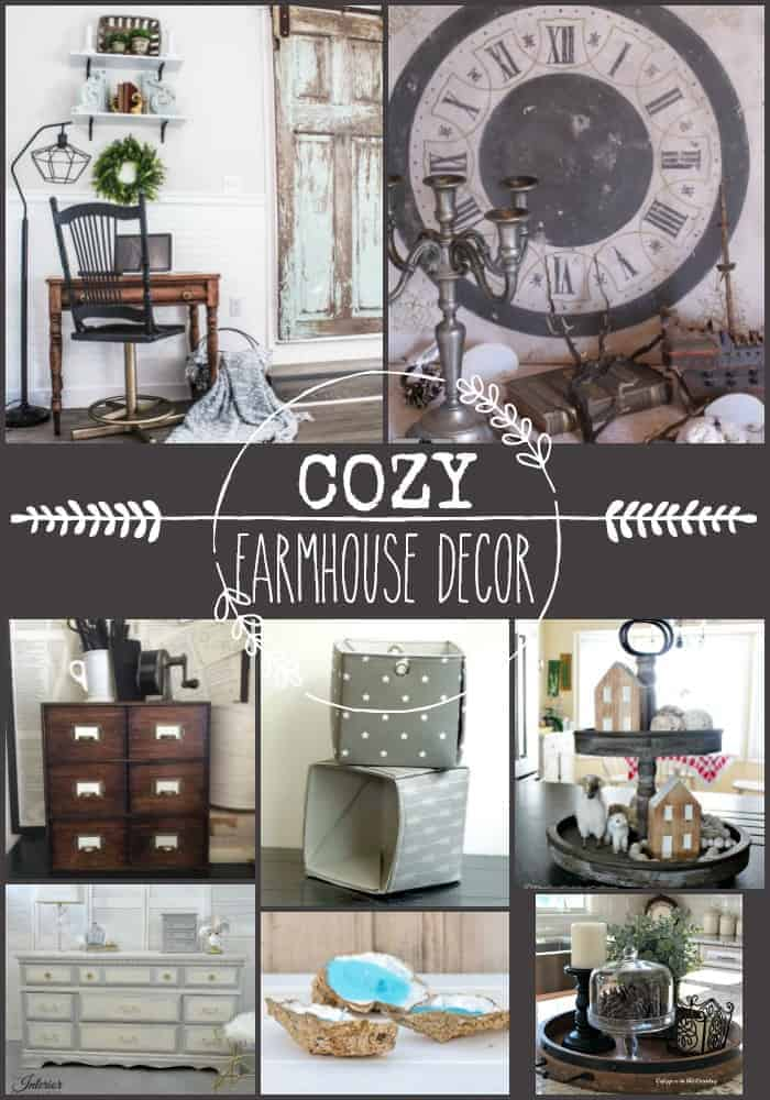 Collage of 8 beautiful cozy farmhouse home decor DIYs in grey and white tones with a splash of barn wood brown