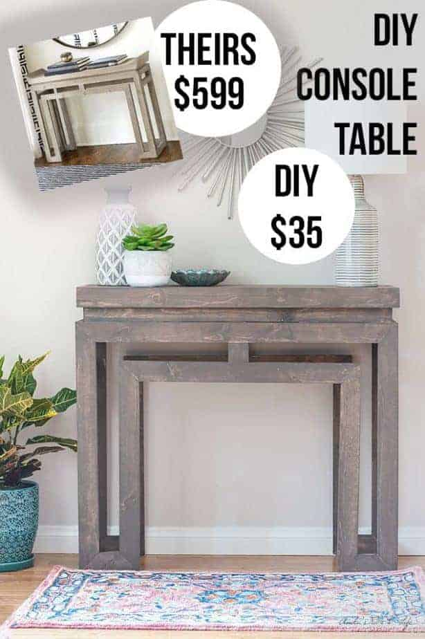 Photo of a DIY console table that can be made for only $35.00