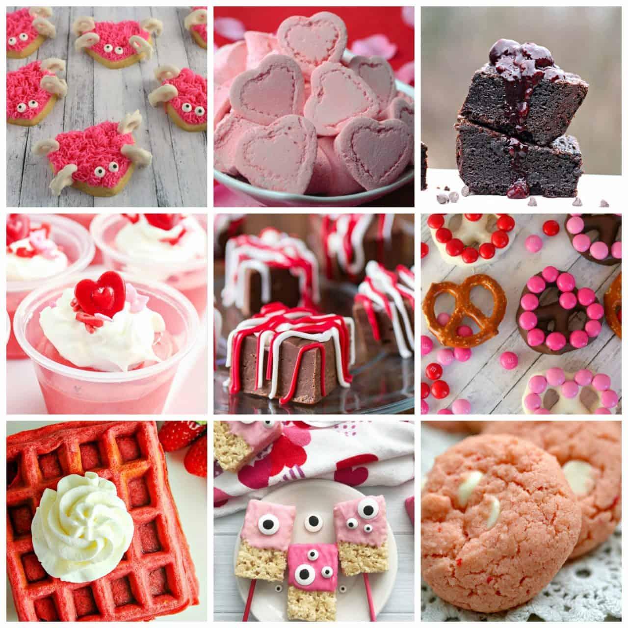 9 square collage of Valentine's Day Desserts