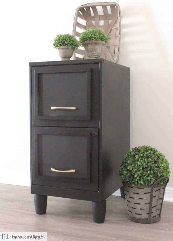 Metal file cabinet updated to look like a gorgeous wooden file cabinet with a few inches added with wooden legs